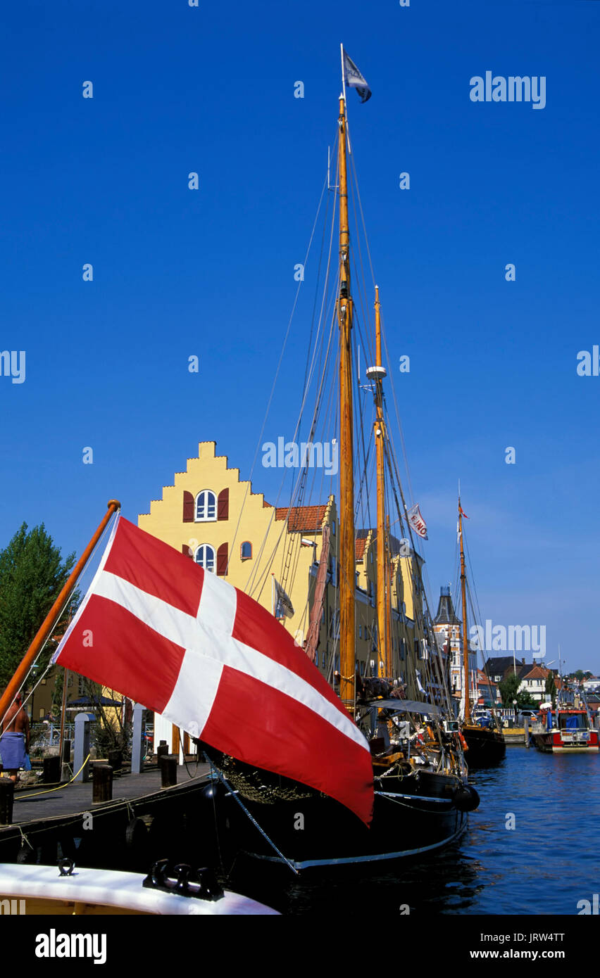 Sailing ships at Svendborg harbour, fyn, Denmark, Scandinavia, Europe Stock Photo