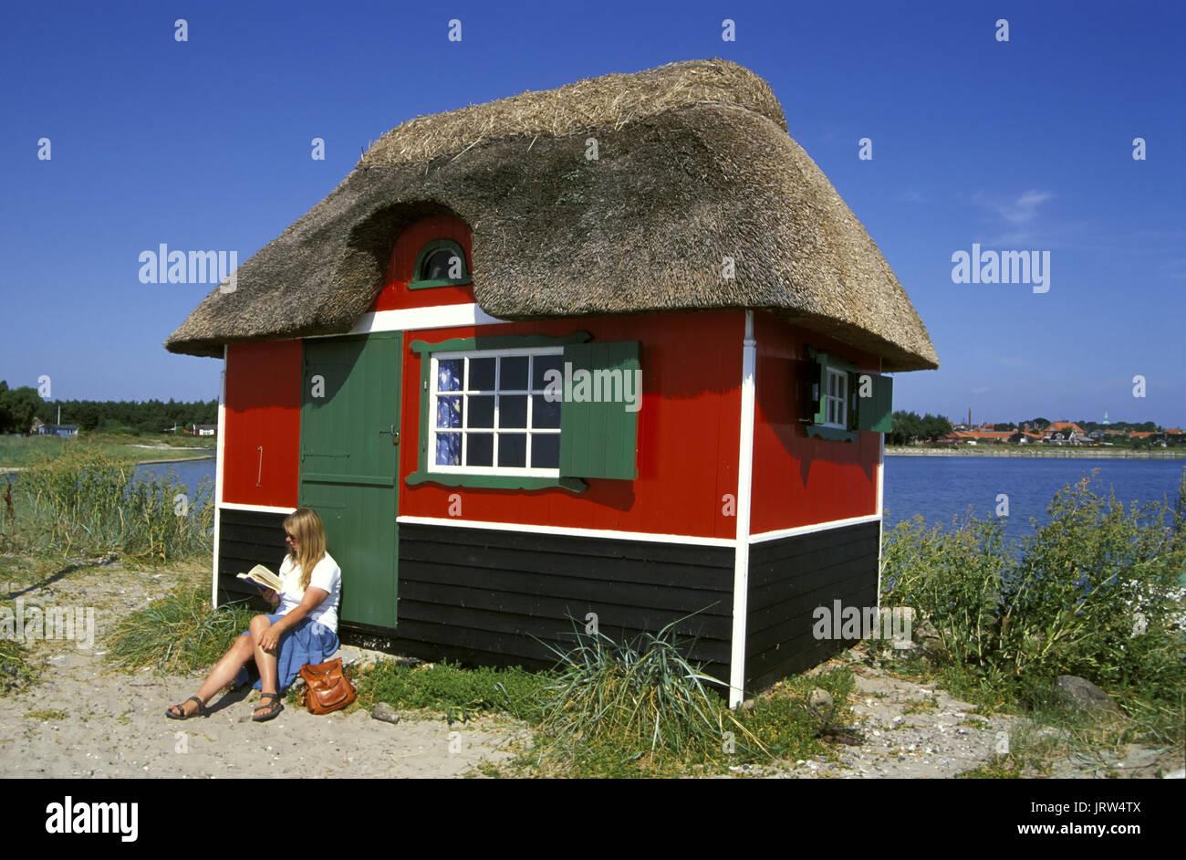 Bathing house at Marstal beach, Aeroe island, Fyn, Denmark, Scandinavia, Europe - Stock Image