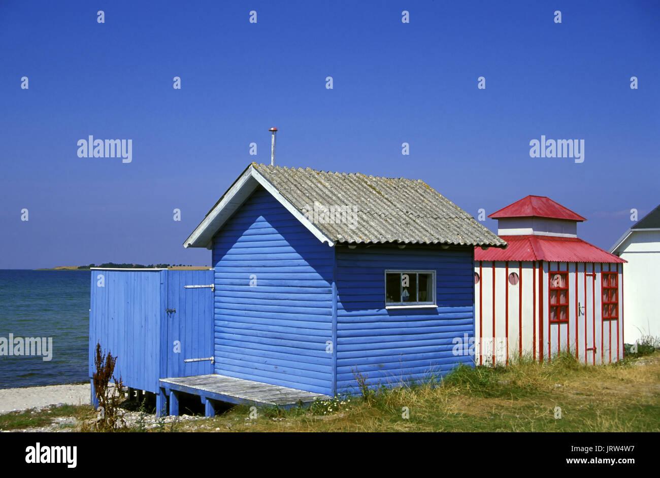 Beach huts at Vester Strand of Aerösköbing, Aeroe island, Fyn, Denmark, Scandinavia, Europe - Stock Image