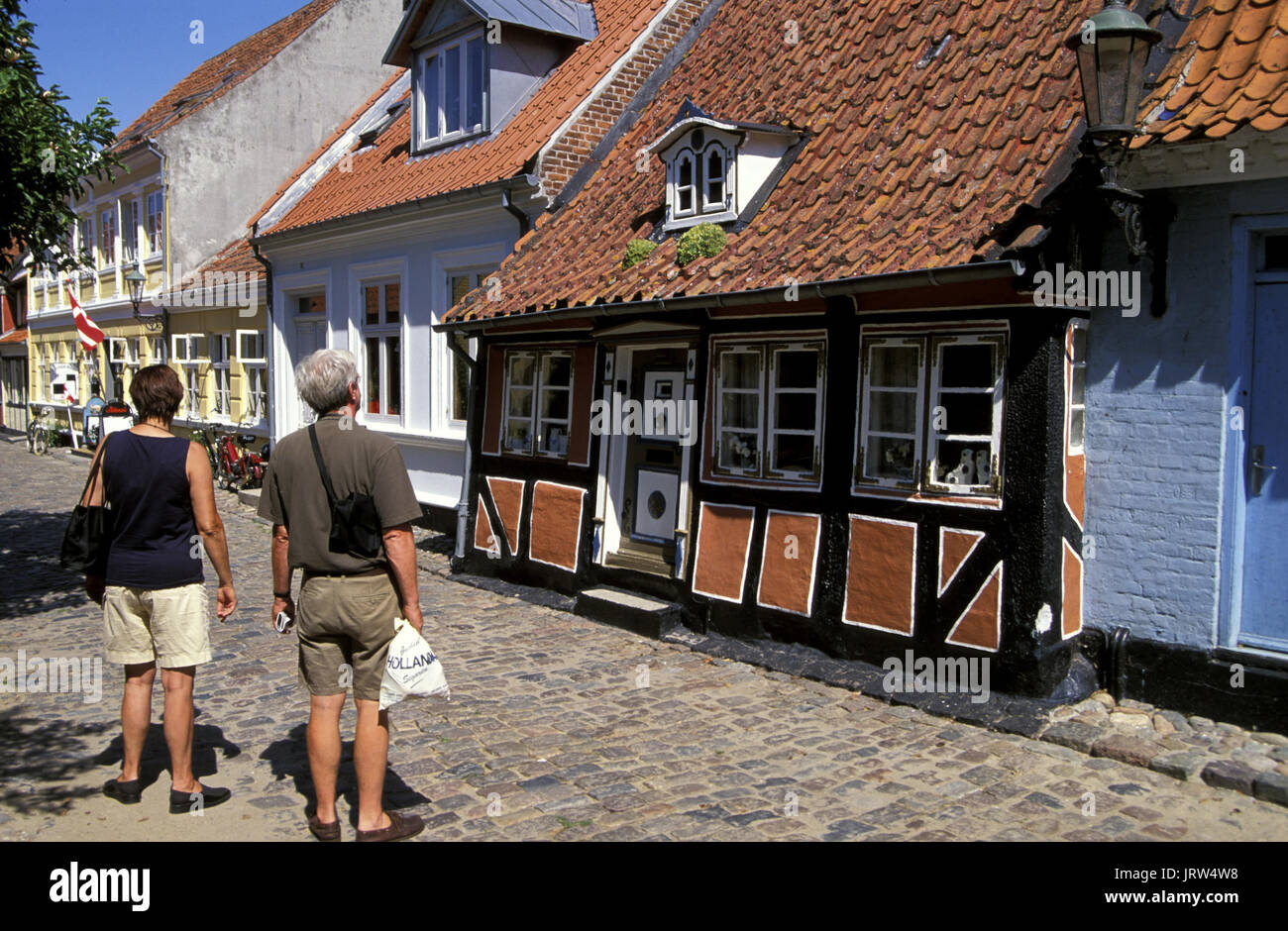 Houses in Smedegade of Aerösköbing, Aeroe island, fyn, Denmark, Scandinavia, Europe - Stock Image