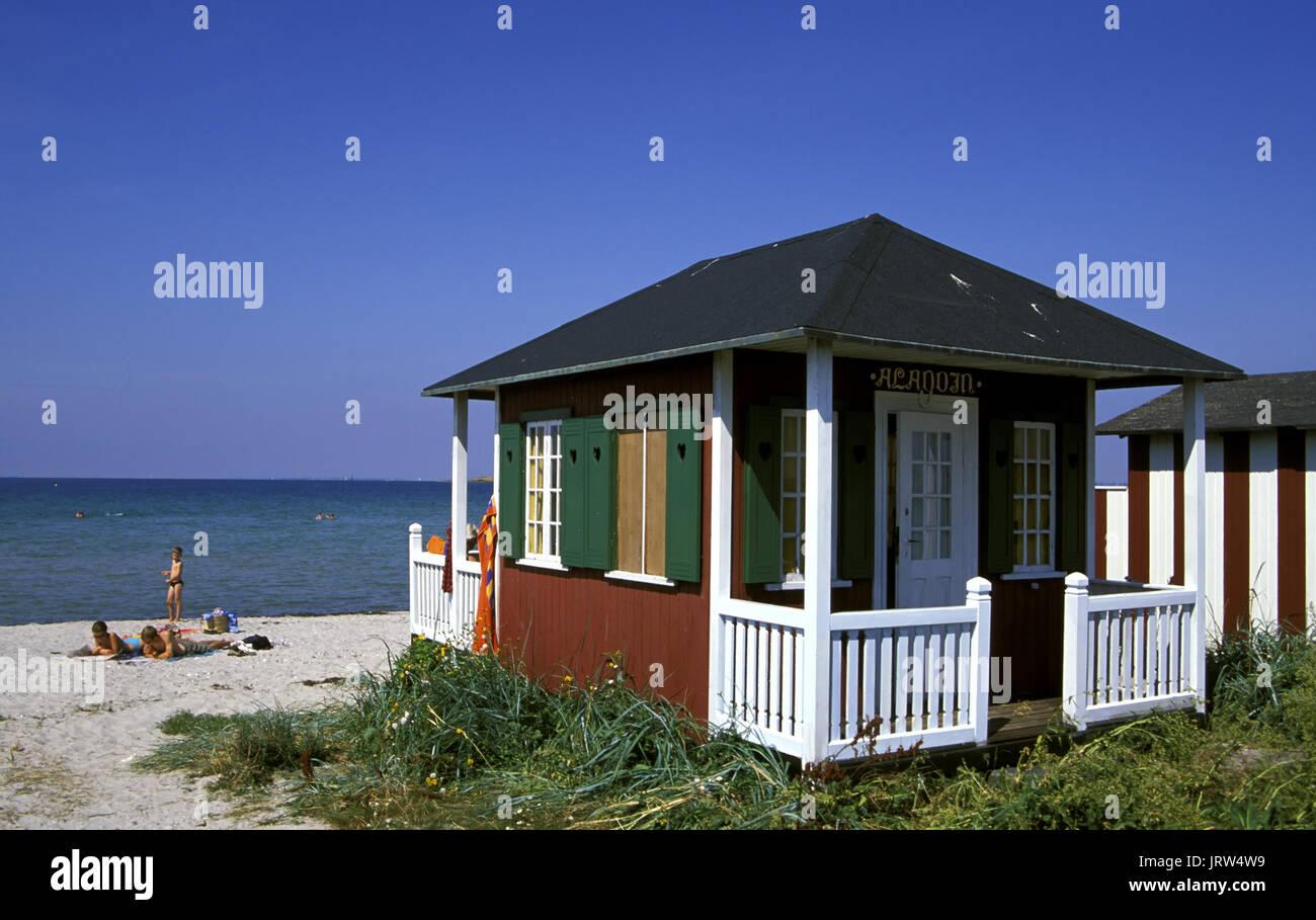 Bathing huts at Vester Strand of Aerösköbing, Aeroe island, Fyn, Denmark, Scandinavia, Europe Stock Photo