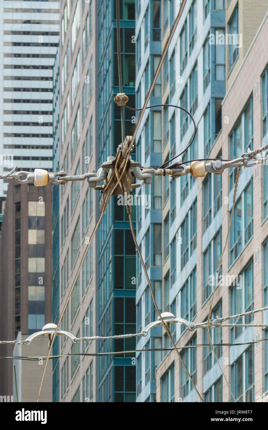 Overhead trolley or tram wires in Toronto, Canada - Stock Image