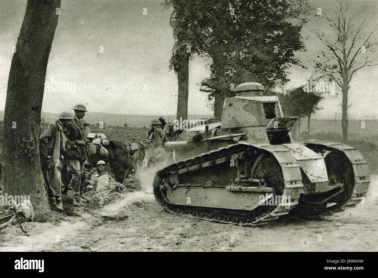 Whippet Tank setting off on reconnaissance mission - Stock Image