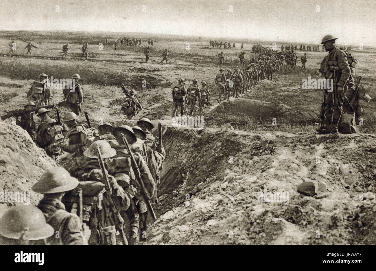 British troops advancing on Cambrai, WW1 - Stock Image
