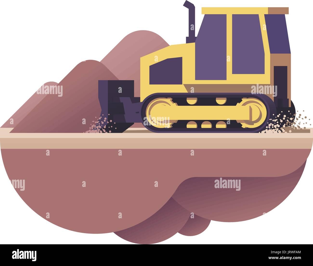 Vector bulldozer icon - Stock Vector