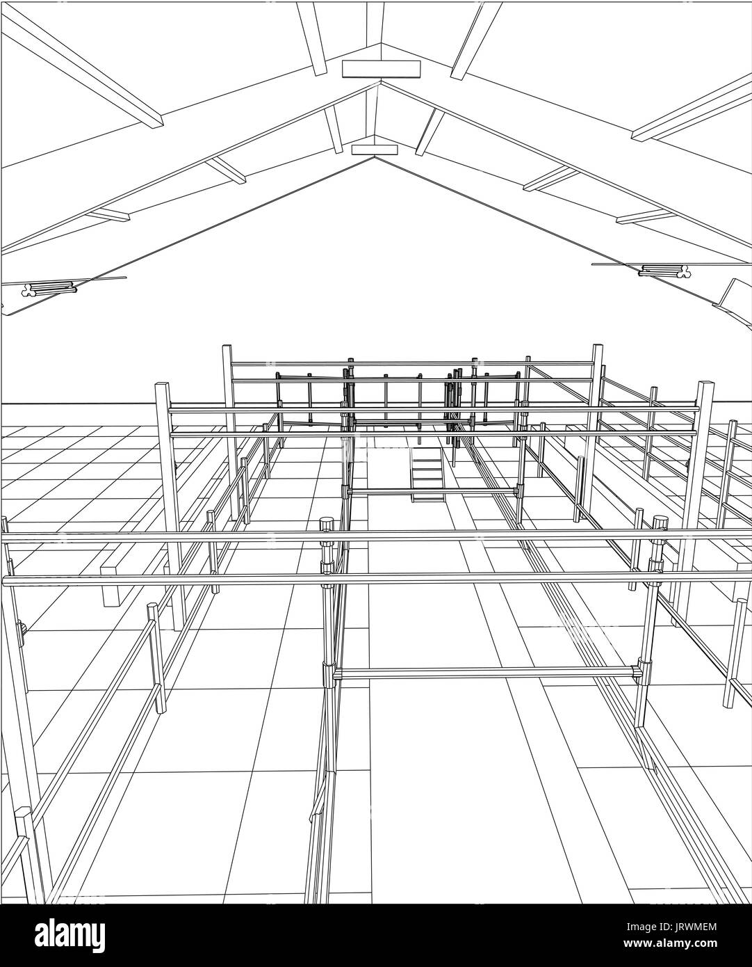 industrial building wireframe for abstract background tracing stock