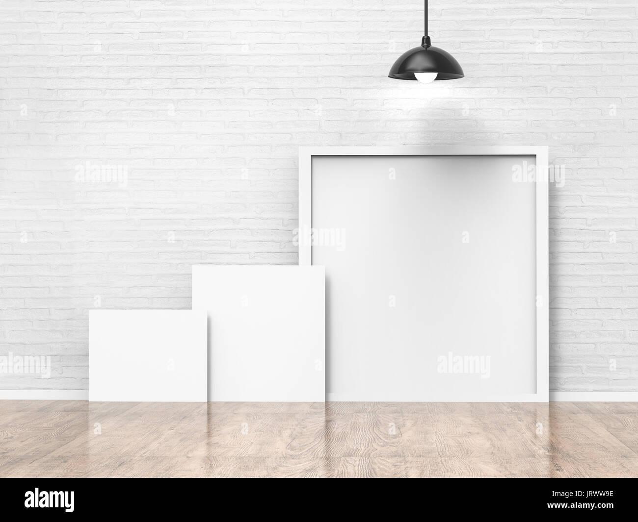 white blank frames on white wall background Stock Photo: 152388698 ...