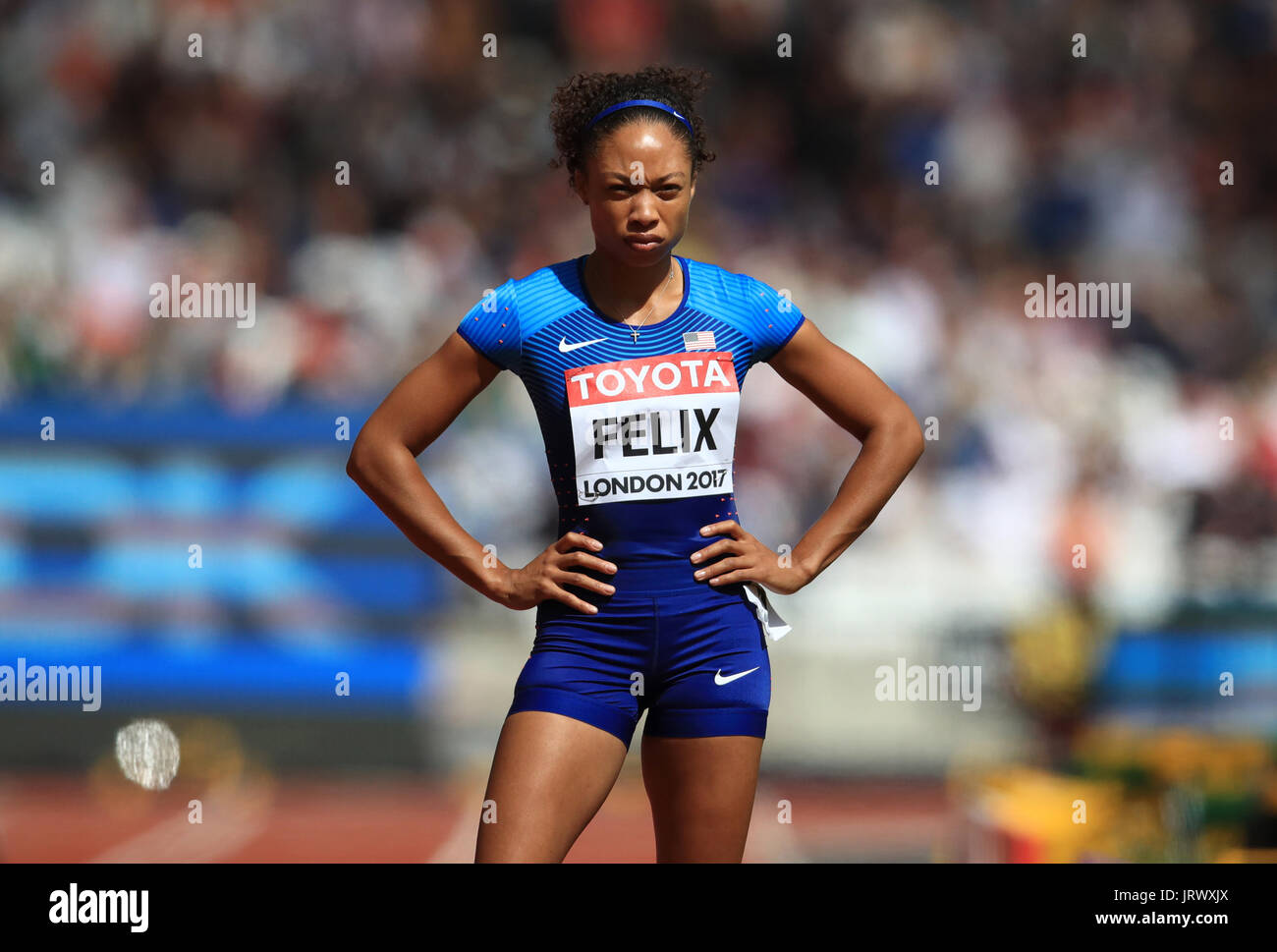 USA's Allyson Felix in the Women's 400m heat one during day three of the 2017 IAAF World Championships at the London Stadium. PRESS ASSOCIATION Photo. Picture date: Sunday August 6, 2017. See PA story ATHLETICS World. Photo credit should read: John Walton/PA Wire. RESTRICTIONS: Editorial use only. No transmission of sound or moving images and no video simulation - Stock Image