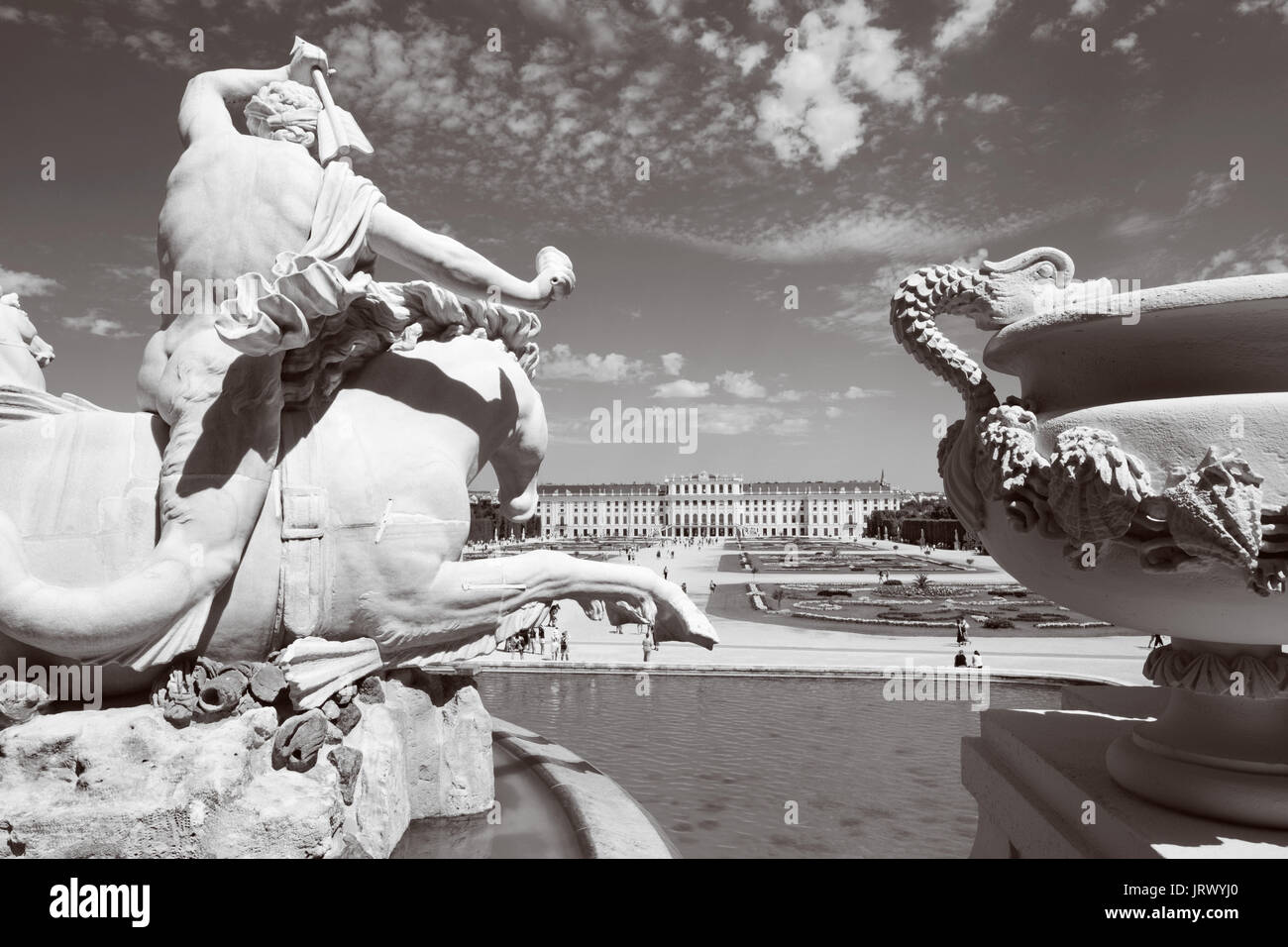 VIENNA, AUSTRIA - JULY 30, 2014: The Schonbrunn palace and gardens from Neptune fountain. Stock Photo