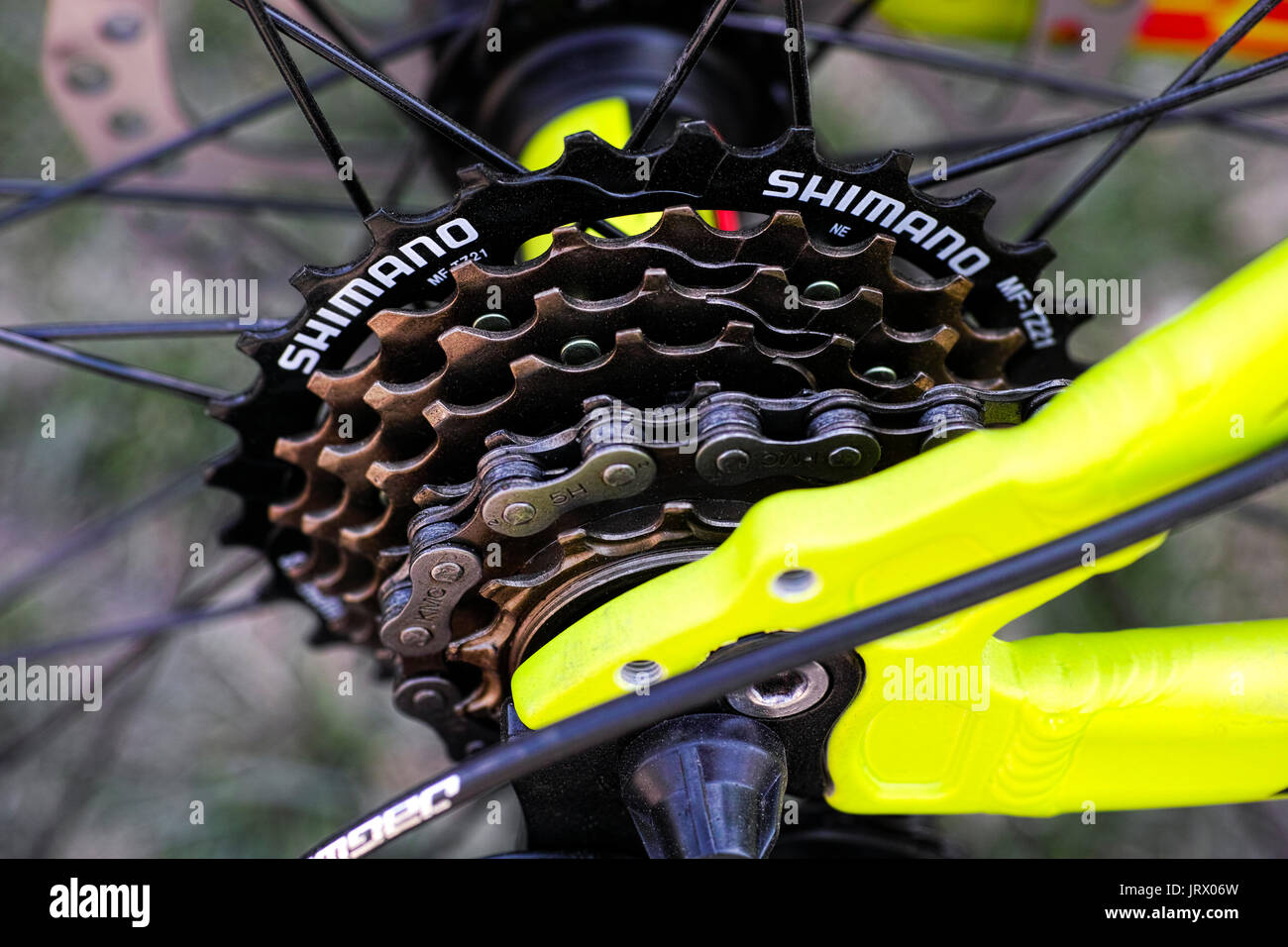 Tambov, Russian Federation - May 07, 2017 Shimano gear cassette on bicycle. Top view. Stock Photo