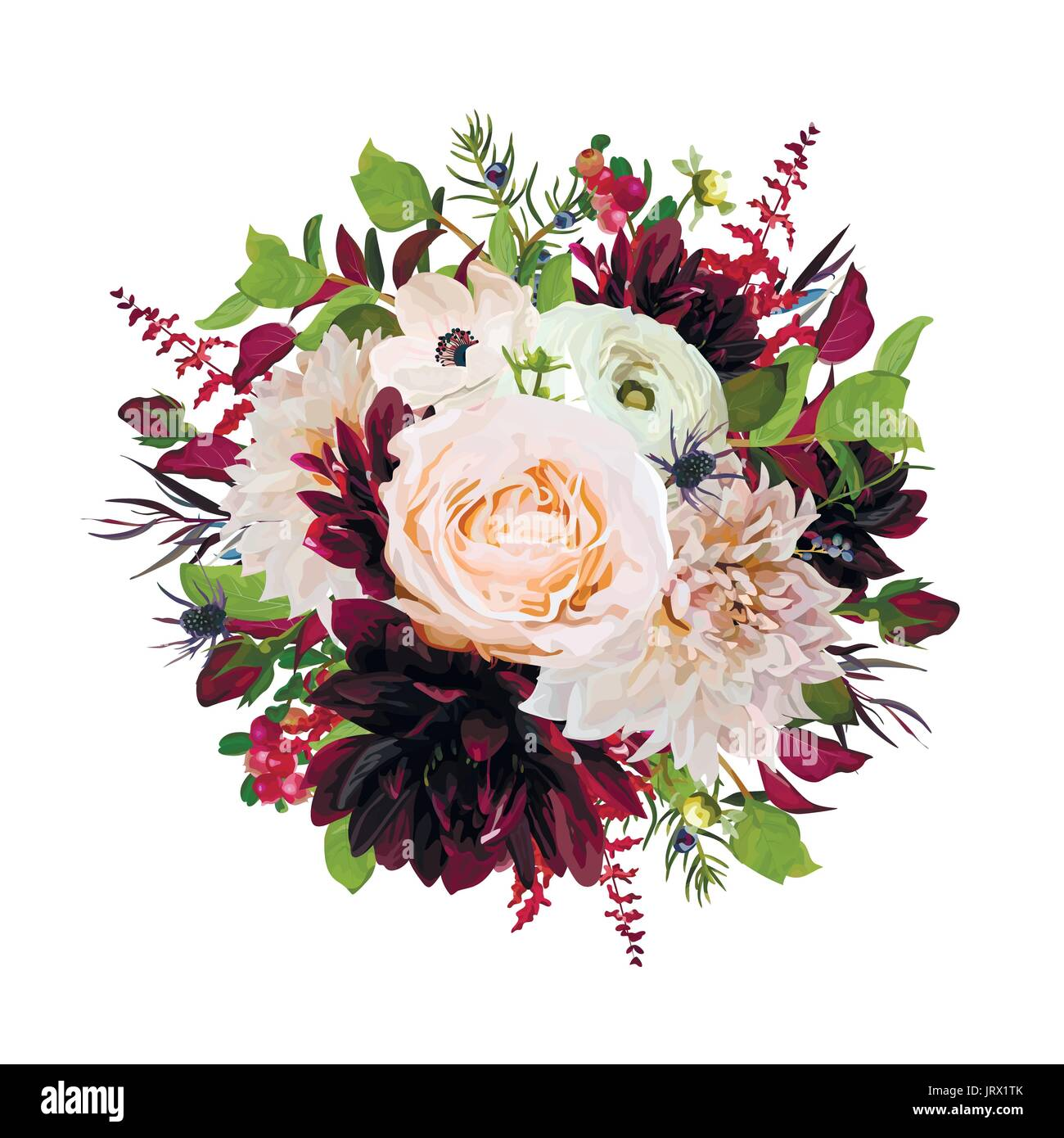 Flower round wreath bouquet of pink Rose burgundy flowers Dahlia ...