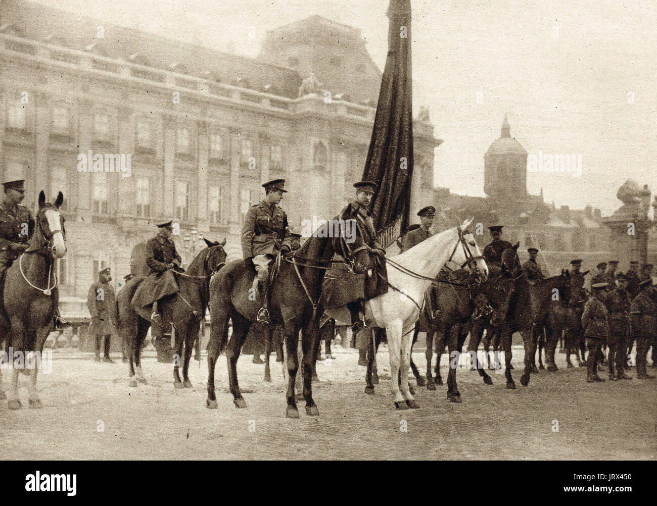King Albert, Prince Albert & Prince of wales (future Edward VIII) reviewing British troops in Brussels Stock Photo