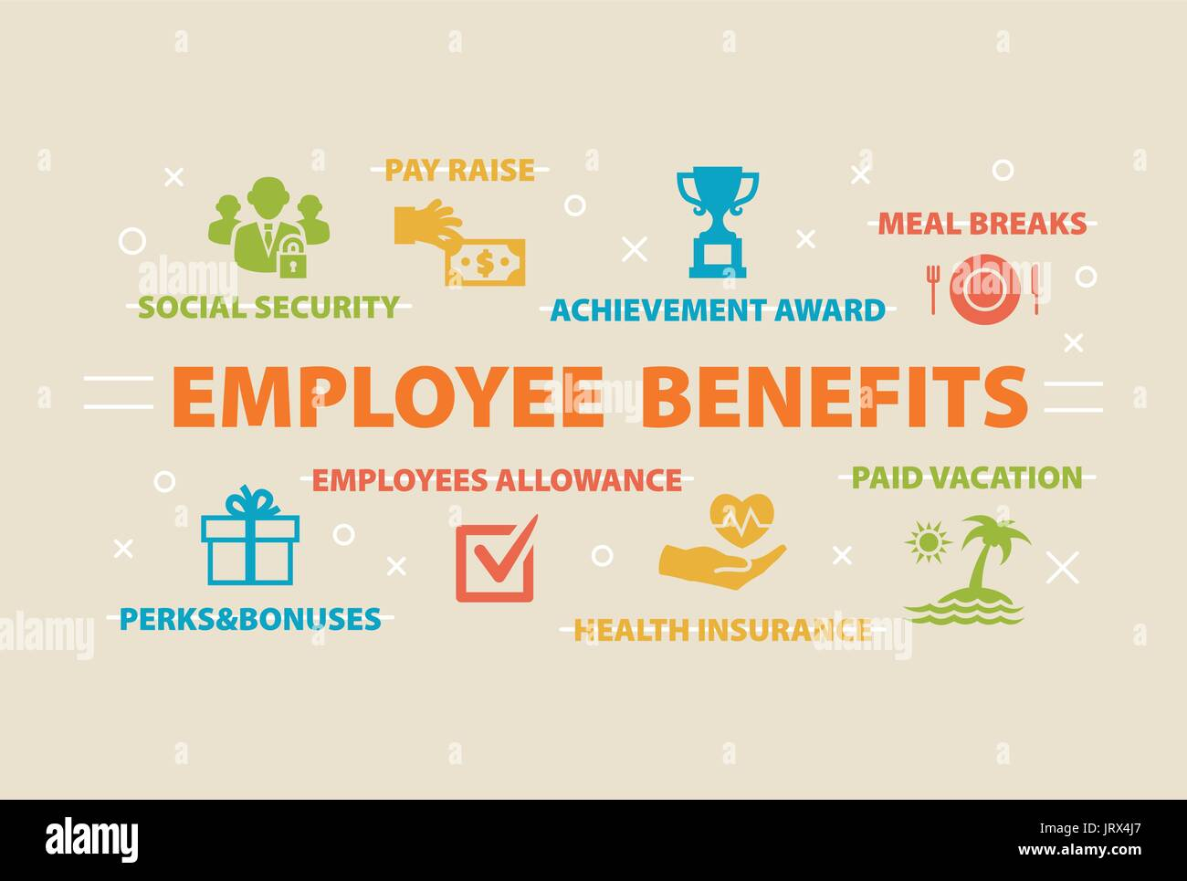 EMPLOYEE BENEFITS Concept with icons Stock Vector