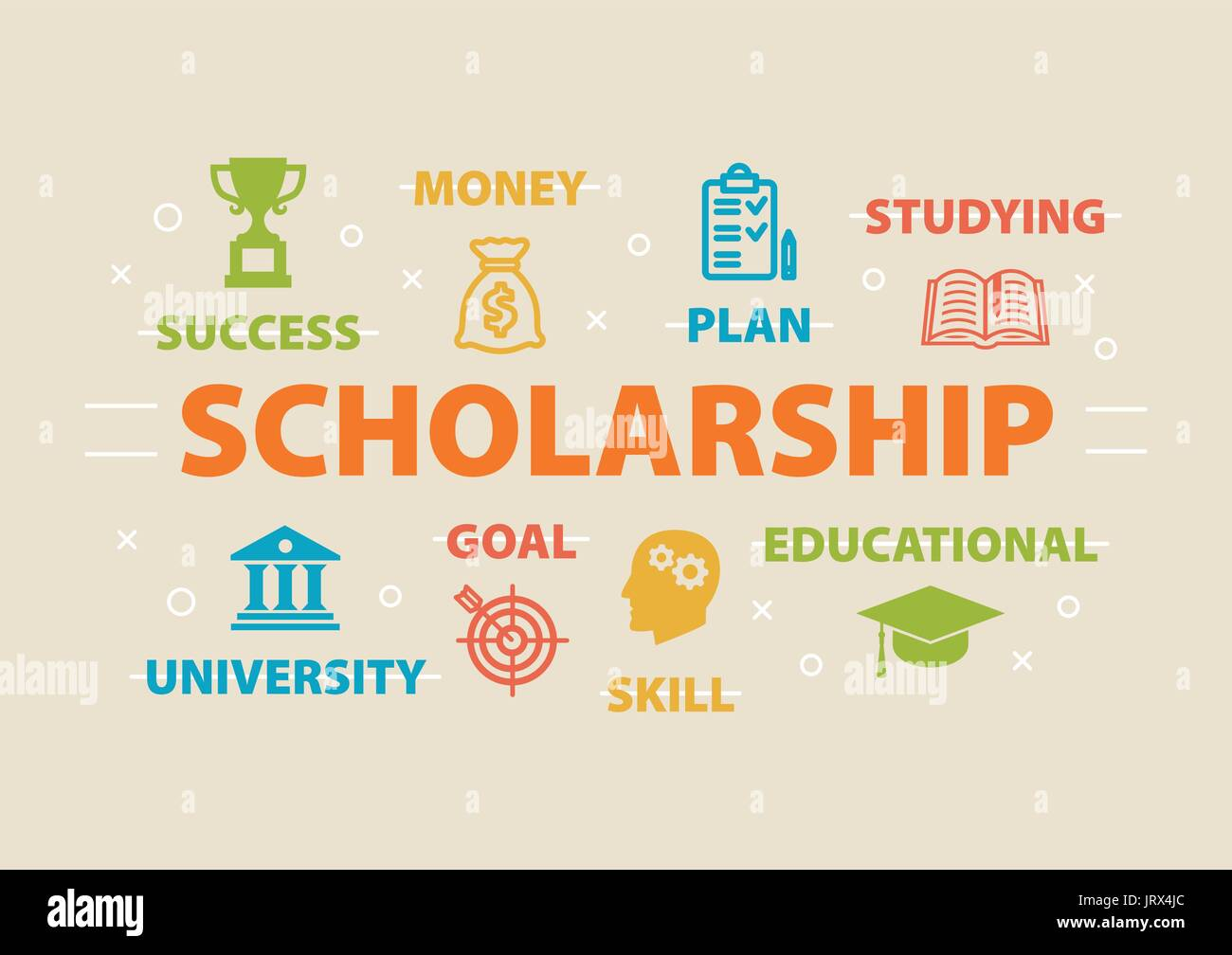 Scholarship. Concept with icons. - Stock Vector