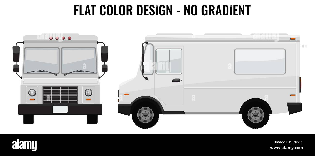 White Food Truck Hidetailed With Solid And Flat Color Design Stock - Food truck design template