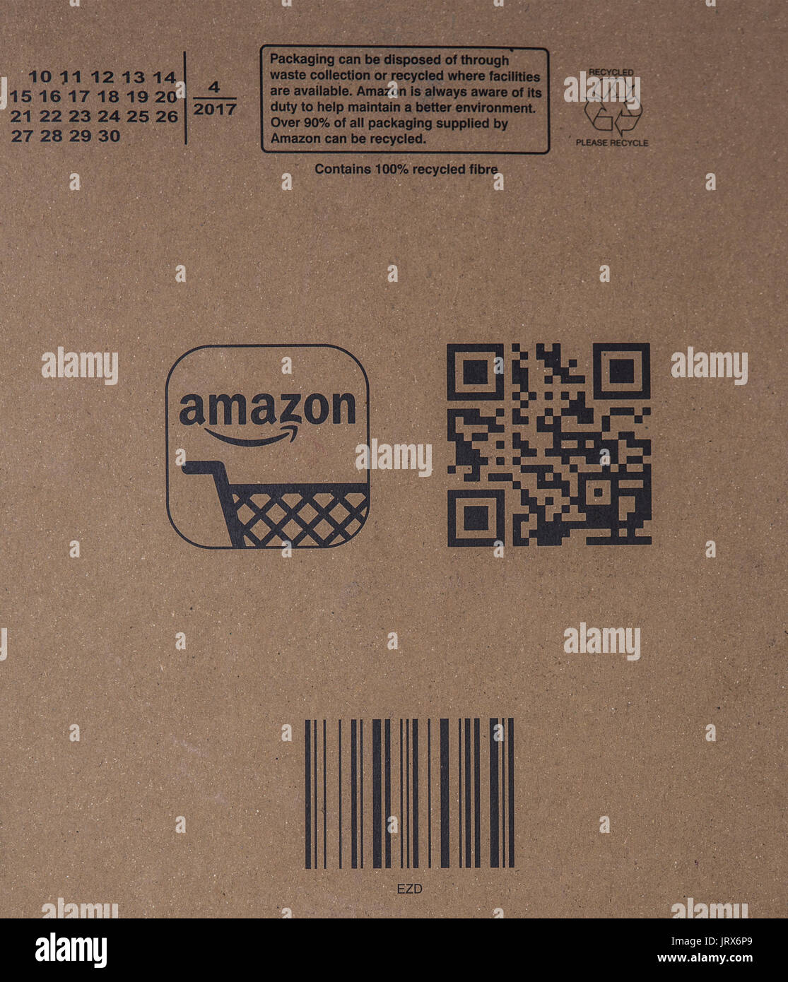 SWINDON, UK - AUGUST 6, 2017: Amazon package with bar Code and QRcode - Stock Image