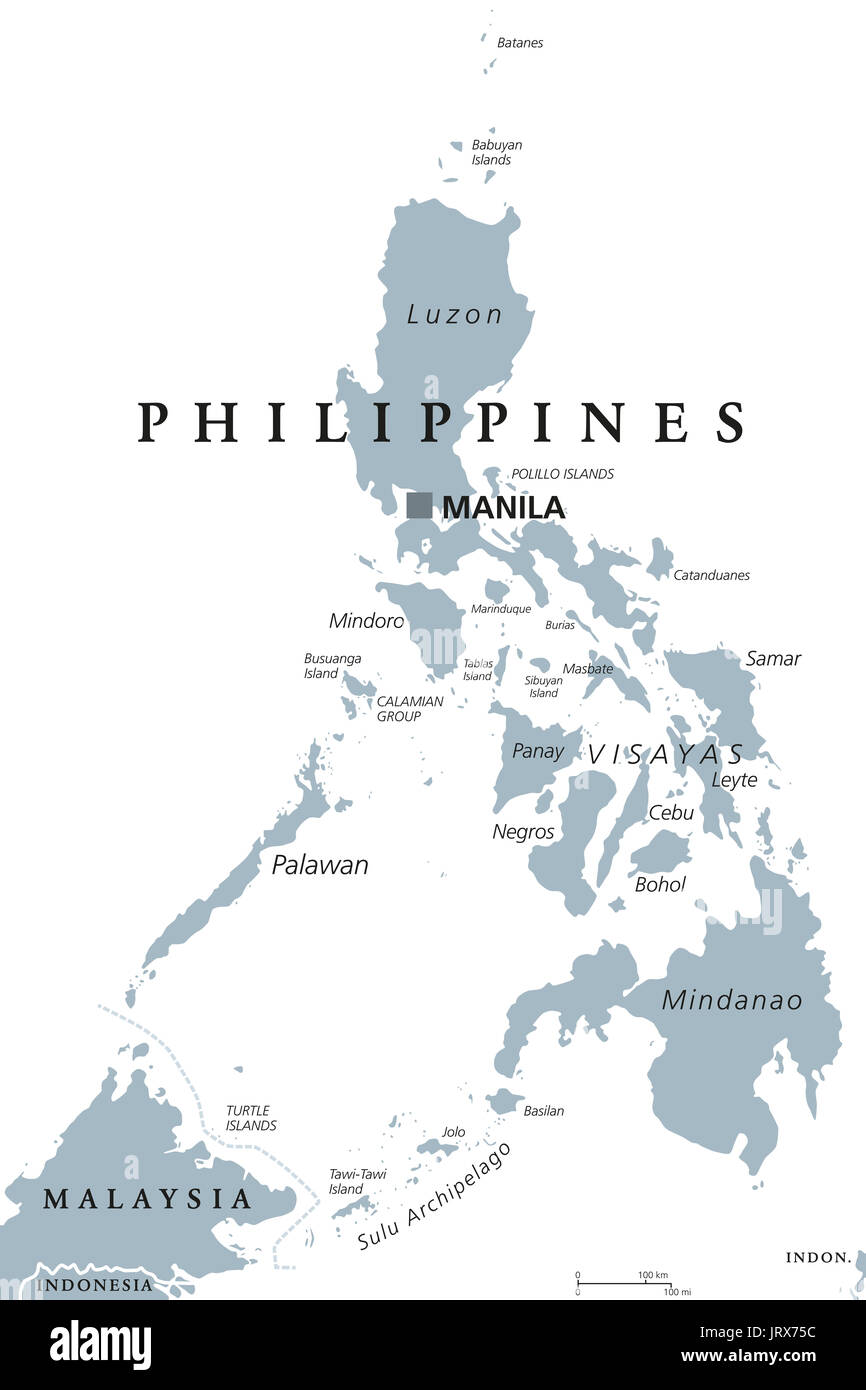 The Philippines political map with capital Manila. English labeling ...