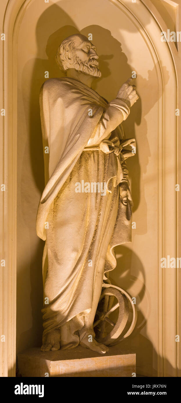 BERLIN, GERMANY, FEBRUARY - 12, 2017: The statue of prophet Ezechel with the wheel on the facade of church Deutscher Dom rebuild after Constantin Phil - Stock Image