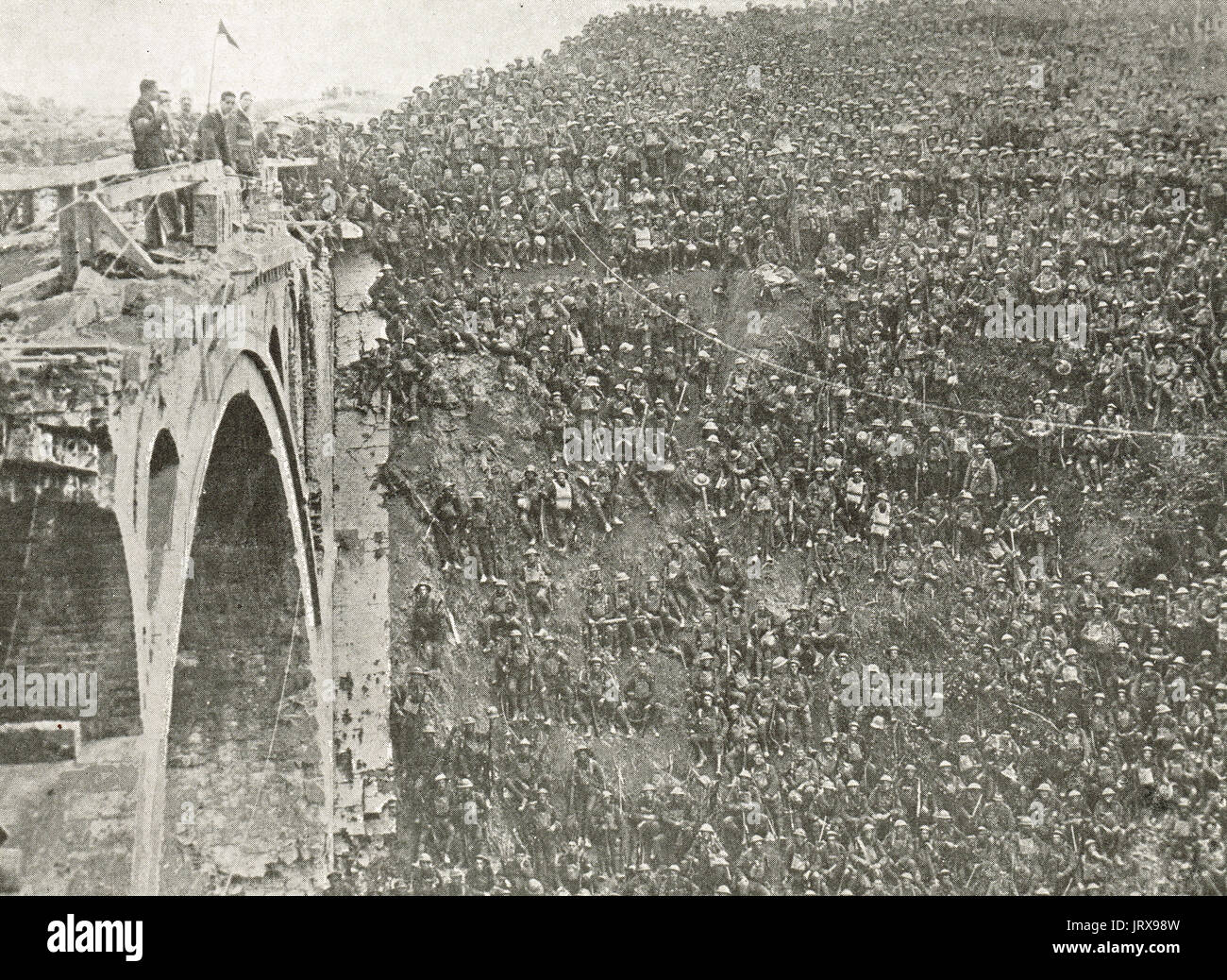 Men of the 46th division who crossed the canal at the Battle of St Quentin Canal, France, 1918 - Stock Image