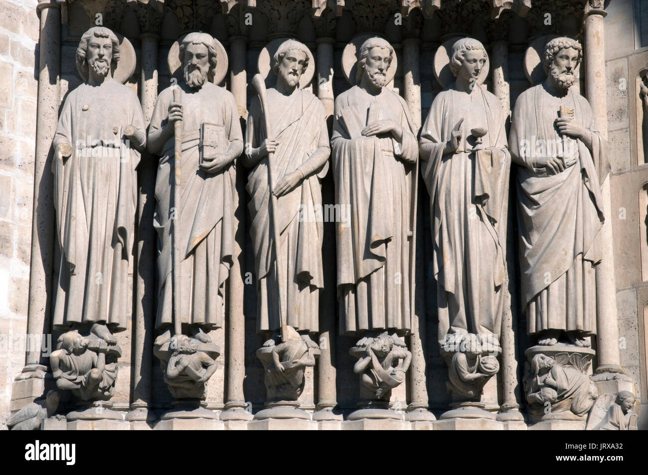central portal jamb statues Stock Photo