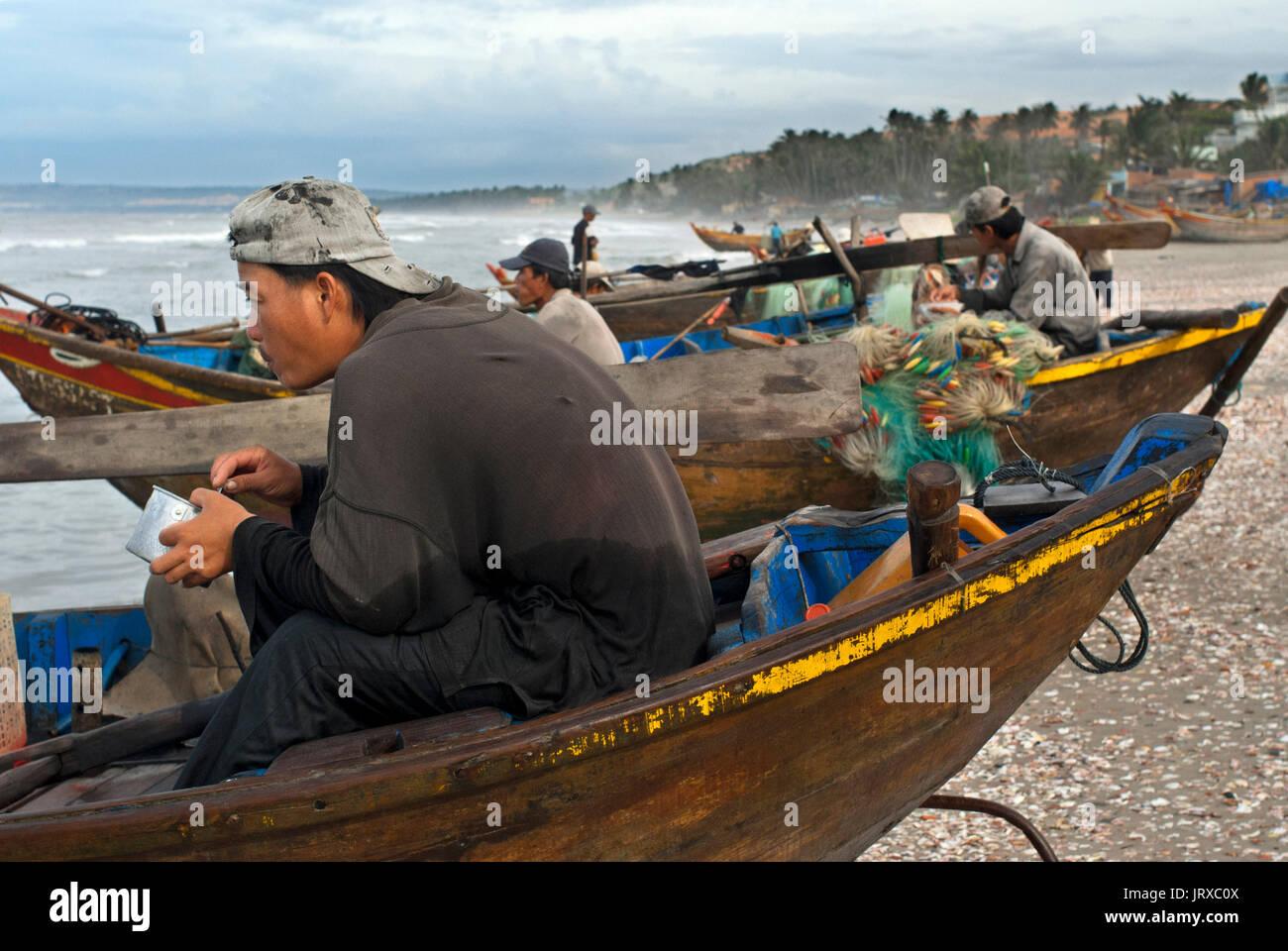 Vietnam, Mui Ne, Mui Ne Beach, Fishing Catch. fishing village, Bình Thuận Province, Vietnam. Stock Photo