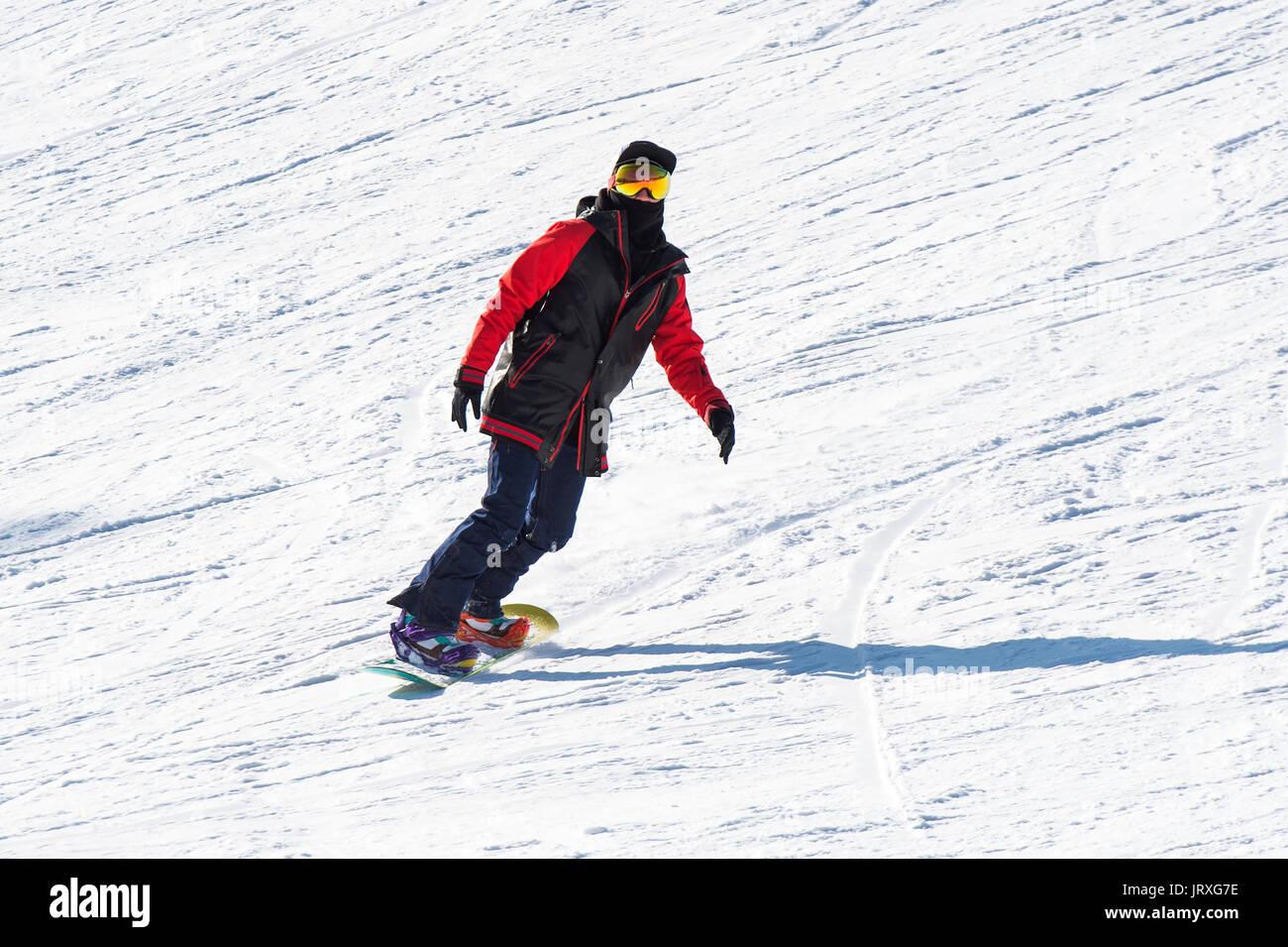 DEOGYUSAN,KOREA - JANUARY 1: Skier skiing on Deogyusan Ski Resort in winter,South Korea on January 1, 2016. - Stock Image
