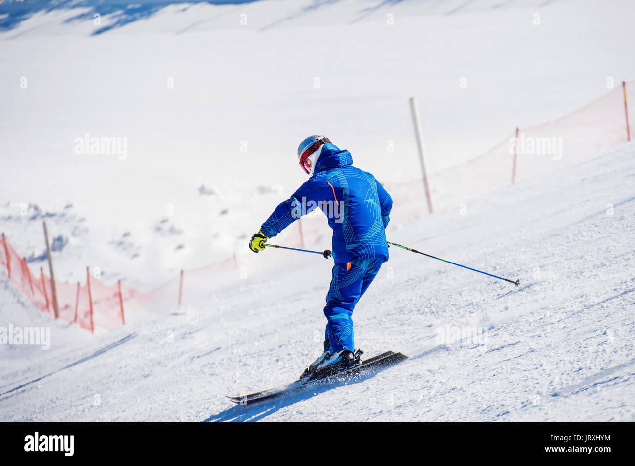 Skier skiing on Deogyusan Ski Resort in winter - Stock Image