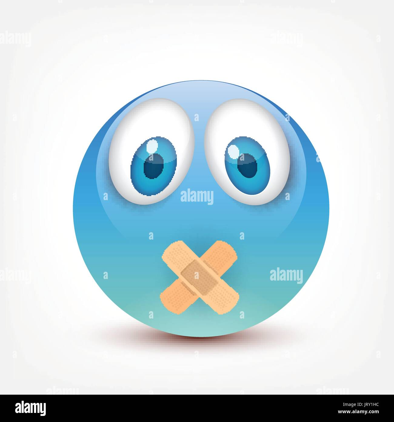 Smiley With Blue Eyes Emoticon Set Yellow Face With Emotions
