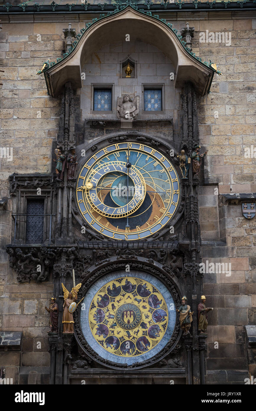 The medieval Prague astronomical clock mounted on wall of Old Town Hall in the Old Town Square in Prague, Czech Republic. - Stock Image