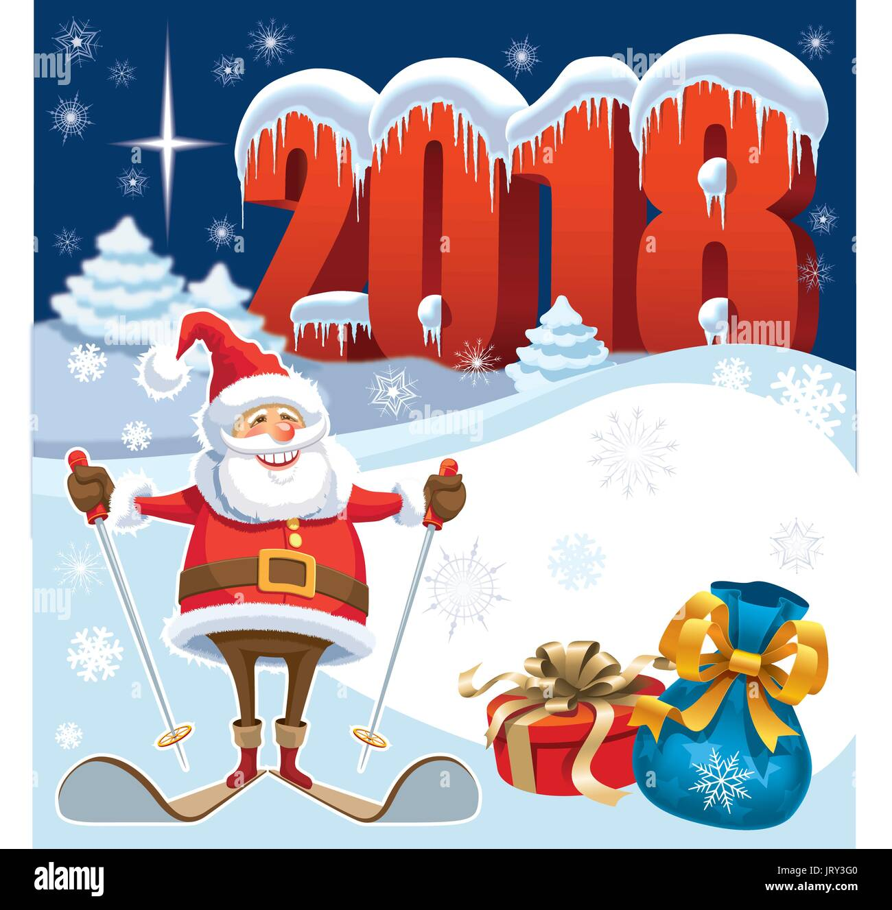Skiing Santa Claus In New Year 2018 With Gifts And