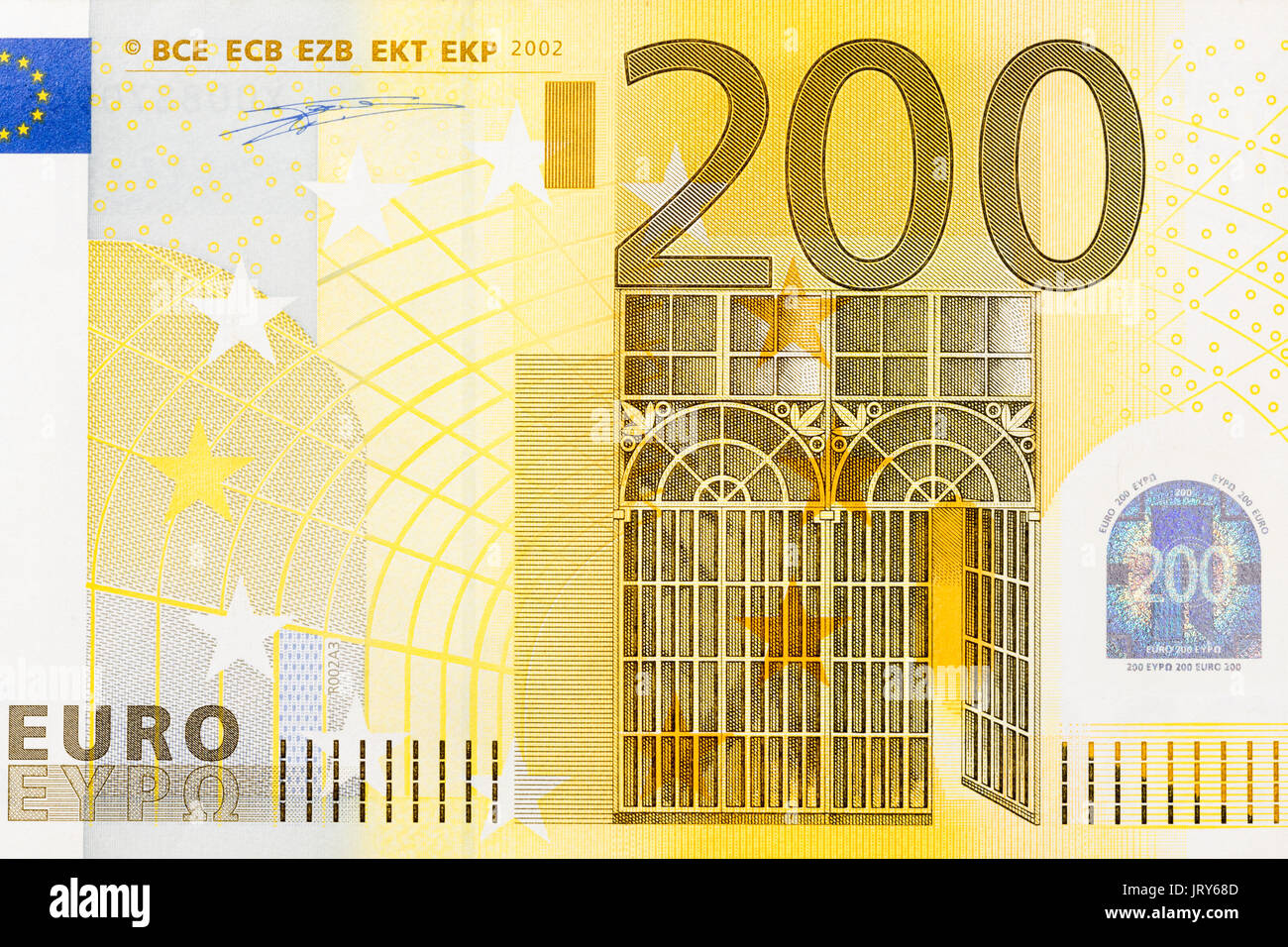Close Up Of Part 200 Euro Banknote Stock Image