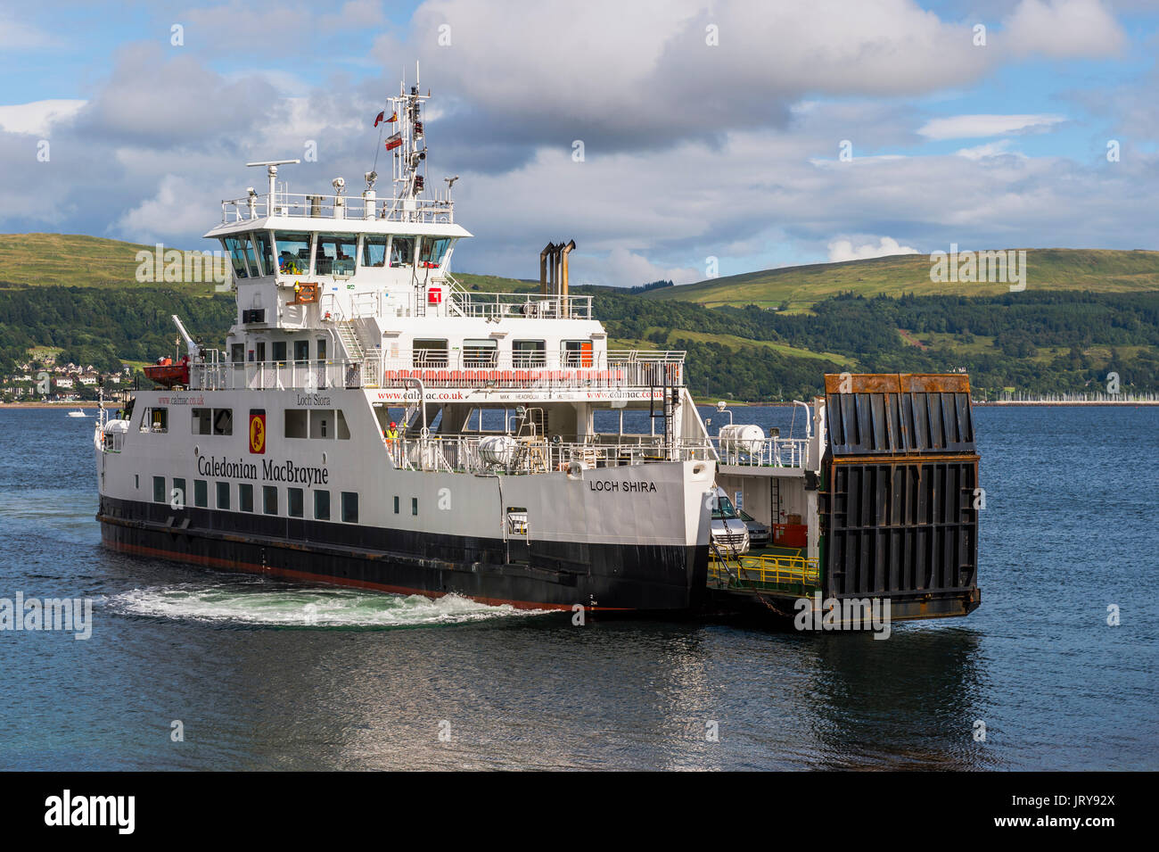 Millport, Scotland - August 3, 2017: The Loch Shira operated by Caledonian MacBrayne (CalMac) arriving at the slip on the Isle of Cumbrae - Stock Image