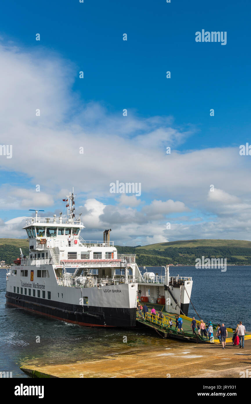 Millport, Scotland - August 3, 2017: Passengers boarding The Loch Shira operated by Caledonian MacBrayne to make the short crossing to Largs - Stock Image