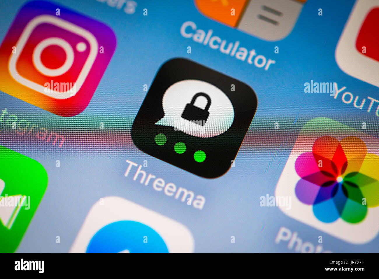 Threema, Privacy, Instant messenger service, App icons, Display on a cell phone screen, Smartphone, Instant messenger service - Stock Image