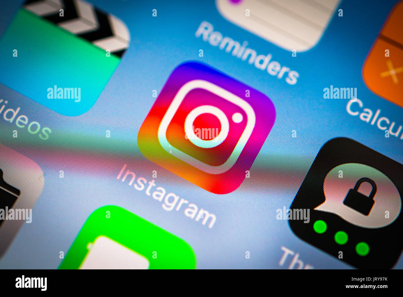 Icon, Logo, Instagram, Social Network, Display, Screen, iPhone, many different app icons, app, cell phone, smartphone, - Stock Image