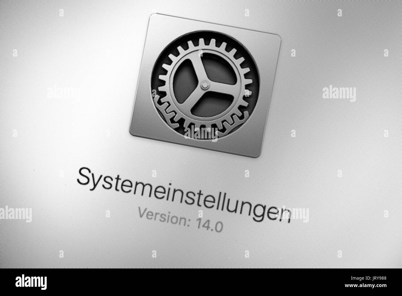 System settings, settings, Mac OS, macro shot, detail, full frame, screen shot - Stock Image