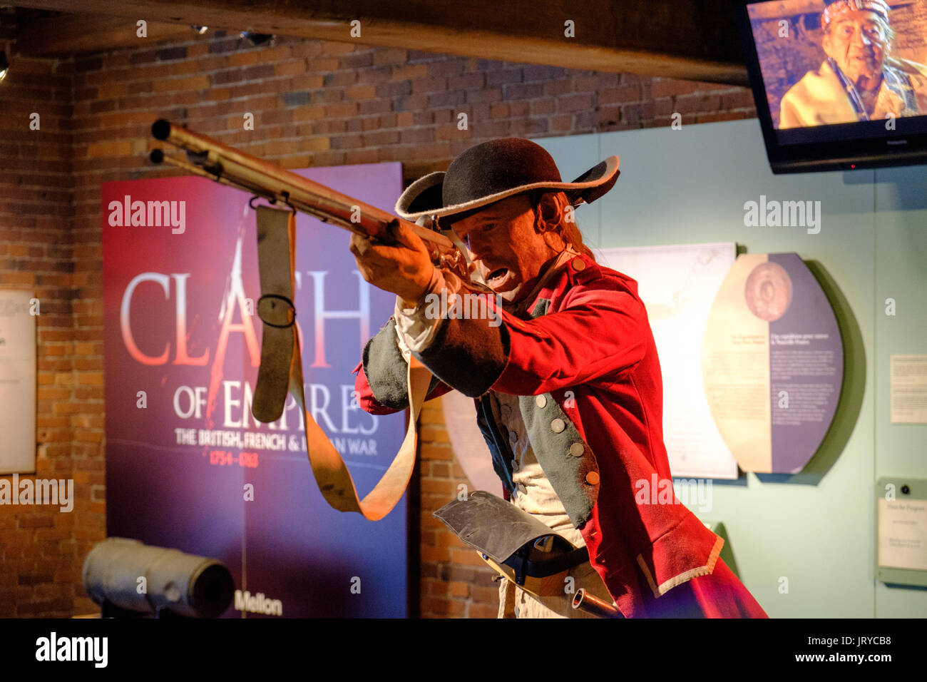 Martin Lucorney: a Hungarian red coat at Braddock's defeat, July 9, 1755,  Heinz History Center, Pittsburgh, USA - Stock Image