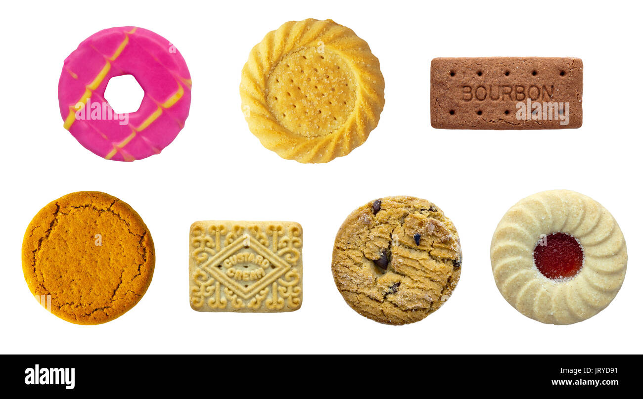 Biscuit selection all at correct scale to each other on a isolated white background with a clipping path - Stock Image