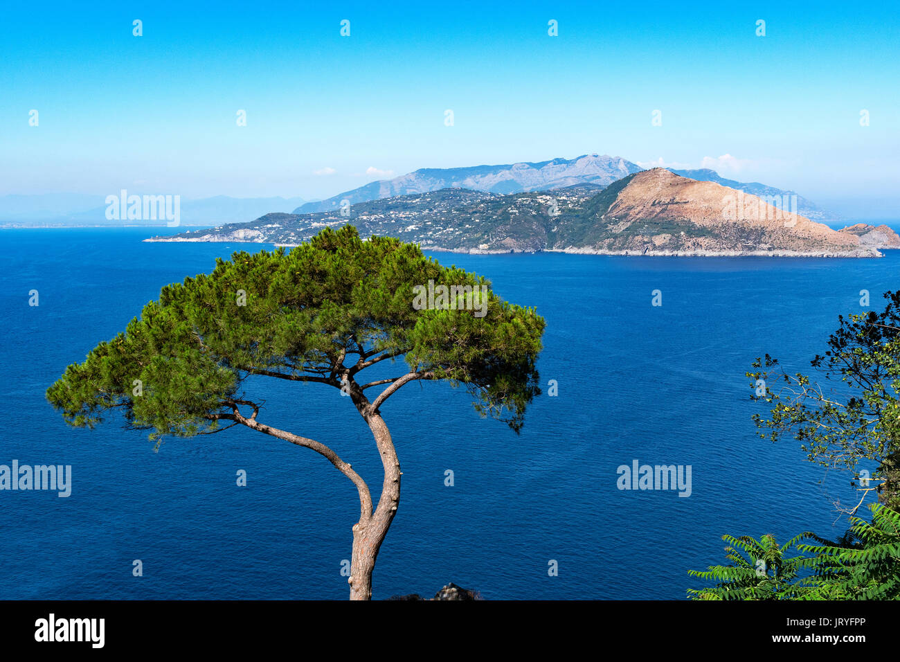 a view of the sorrento peninsular on the mainland of southern italt from the island of capri in the gulf of naples, italy - Stock Image