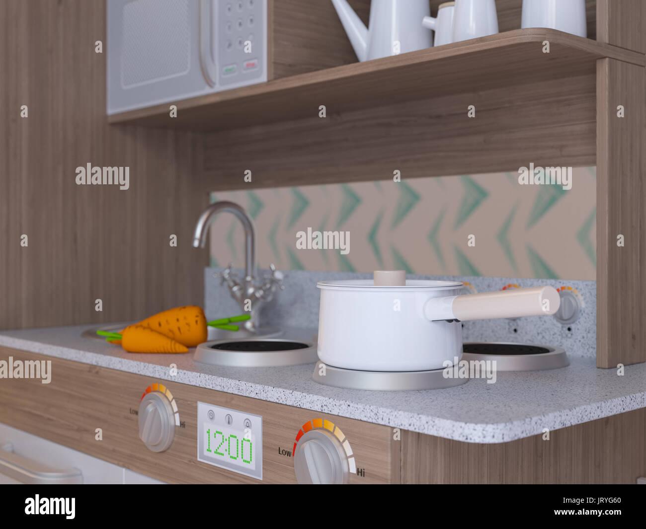 Children kitchen design interior for cooking pretend play ...