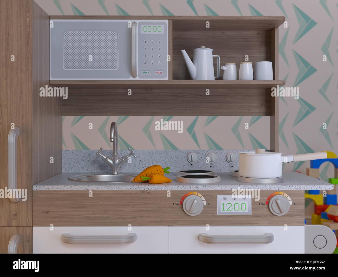 Children kitchen design interior for cooking pretend play set with accessories. 3d illustration kids kitchen smart playset. Render image - Stock Image
