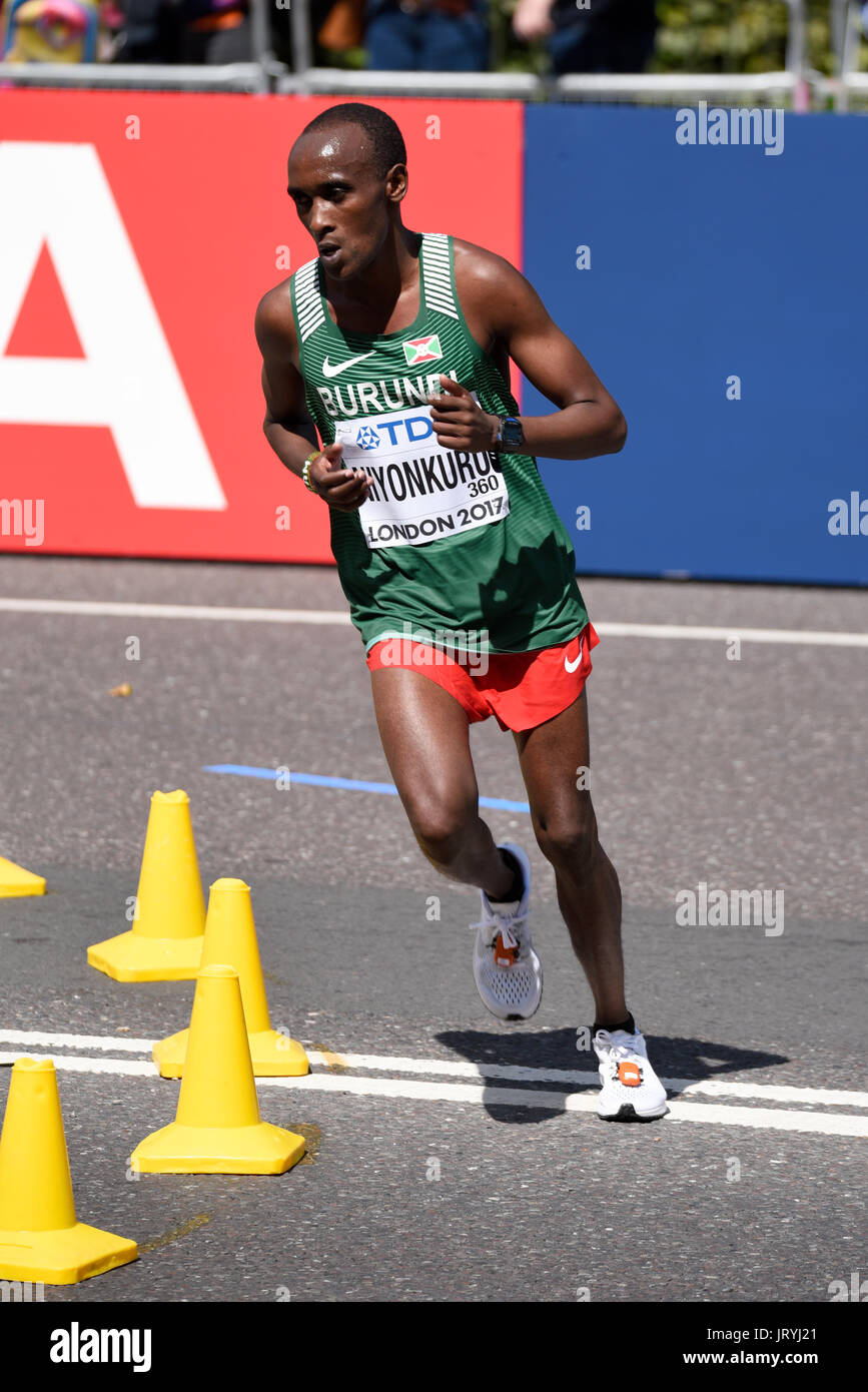Abraham Niyonkuru of Burundi running in the IAAF World Championships 2017 Marathon race in London, UK. Space for copy - Stock Image