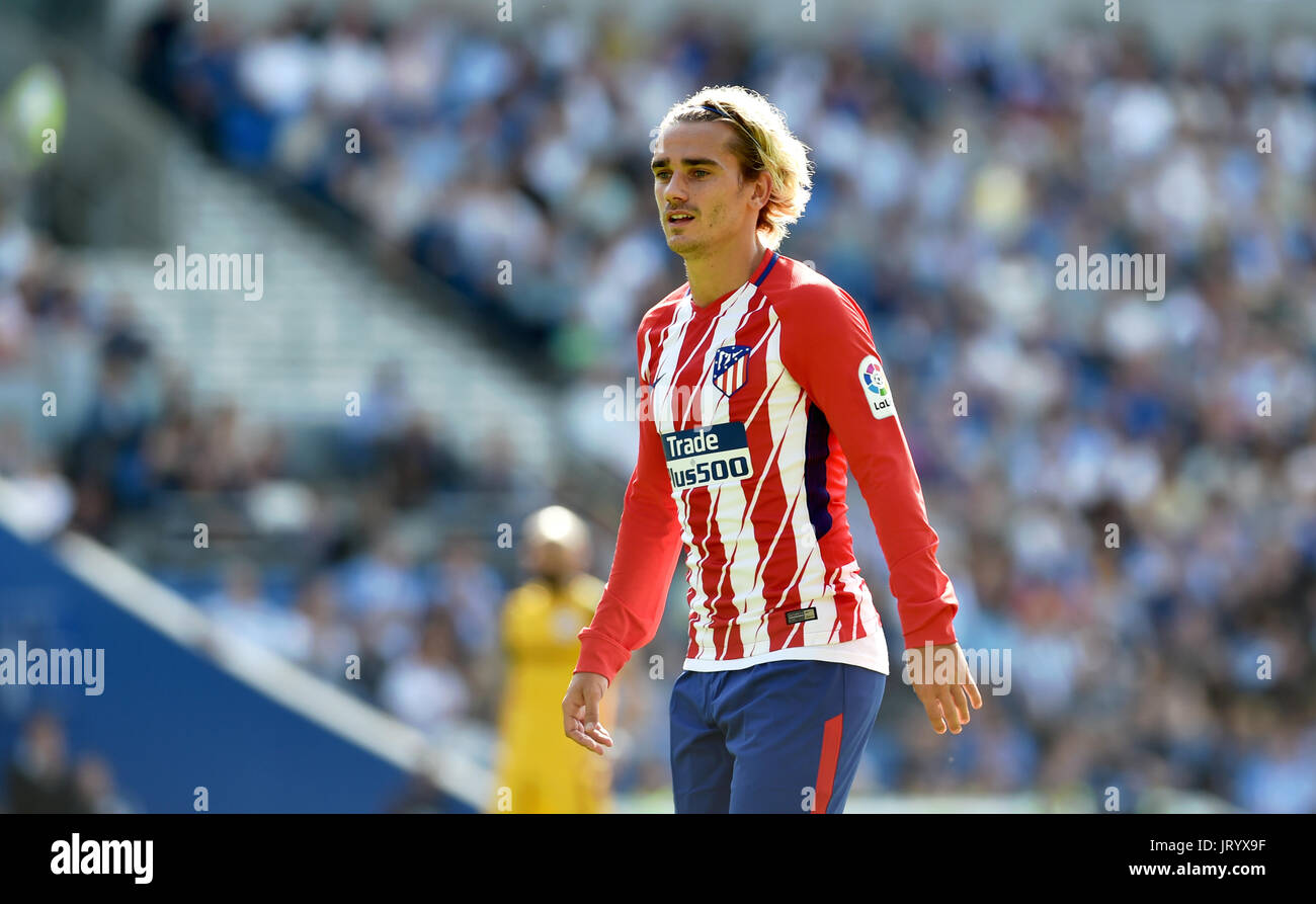 Antoine Griezmann Of Atletico Madrid During The Friendly Match Between Brighton And Hove Albion And Atletico Madrid At The American Express Community Stadium In Brighton And Hove 06 Aug 2017 Stock Photo Alamy