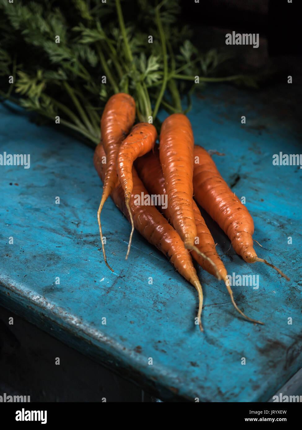Carrots bunch freshness harvest carotene antioxidant vitamin for recipes - Stock Image