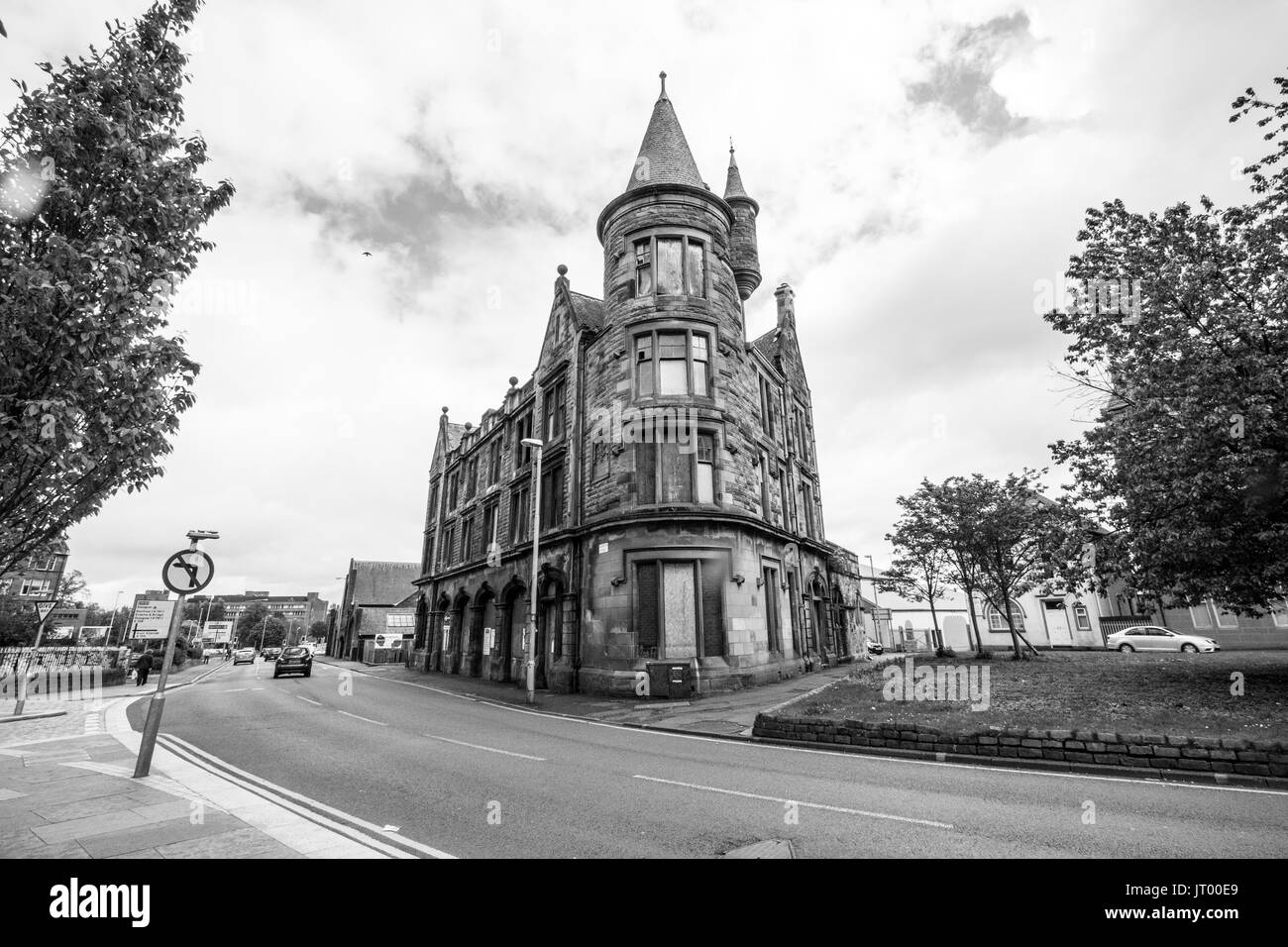 Abandoned Old Fire Station Gordon Street Paisley now under renovation - Stock Image