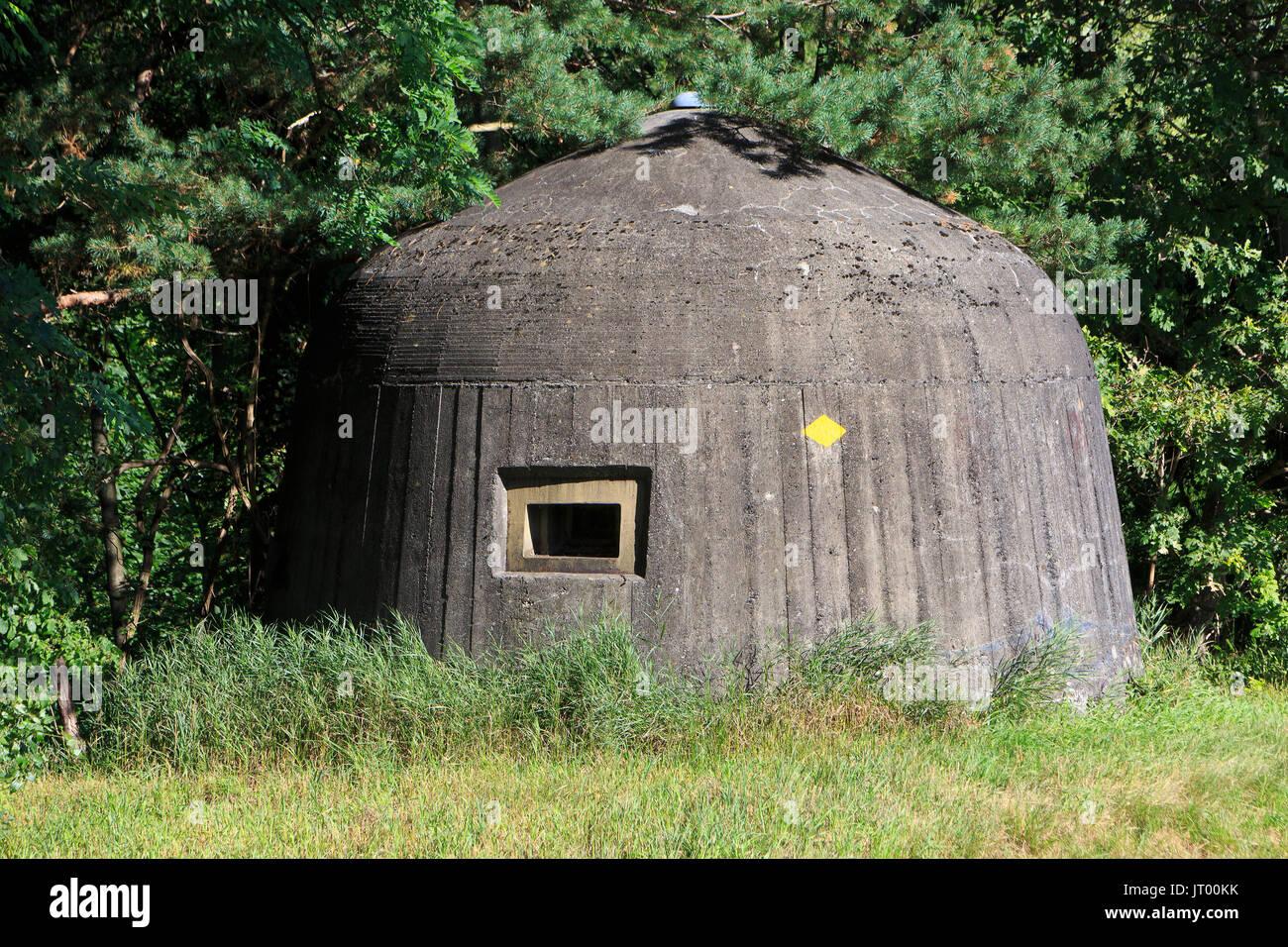 World War II bunker located on the Swiss side of the bridge (across the river Rhine) leading to Vaduz, Liechtenstein - Stock Image