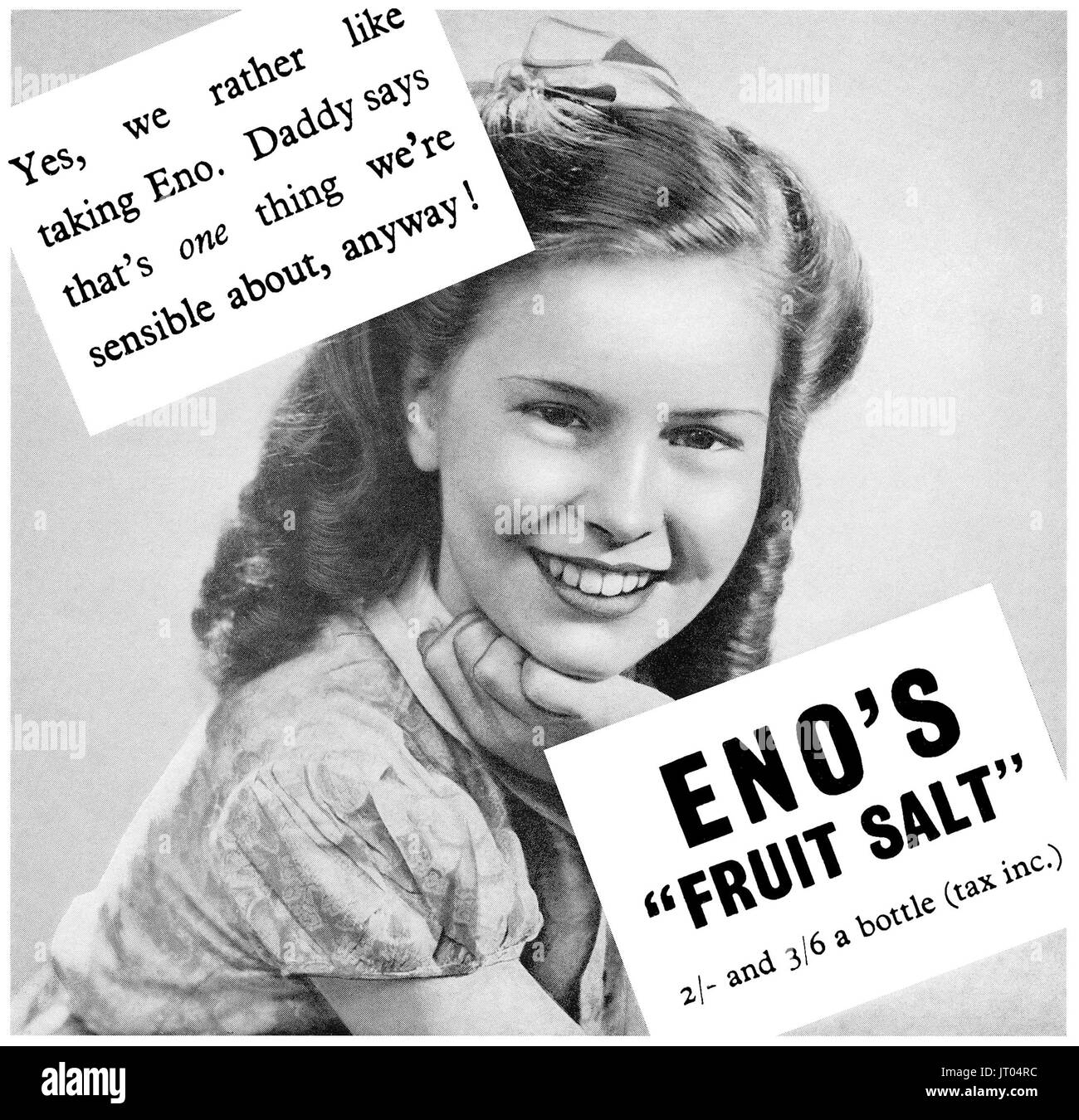 1946 British advertisement for Eno's Fruit Salt health drink. - Stock Image