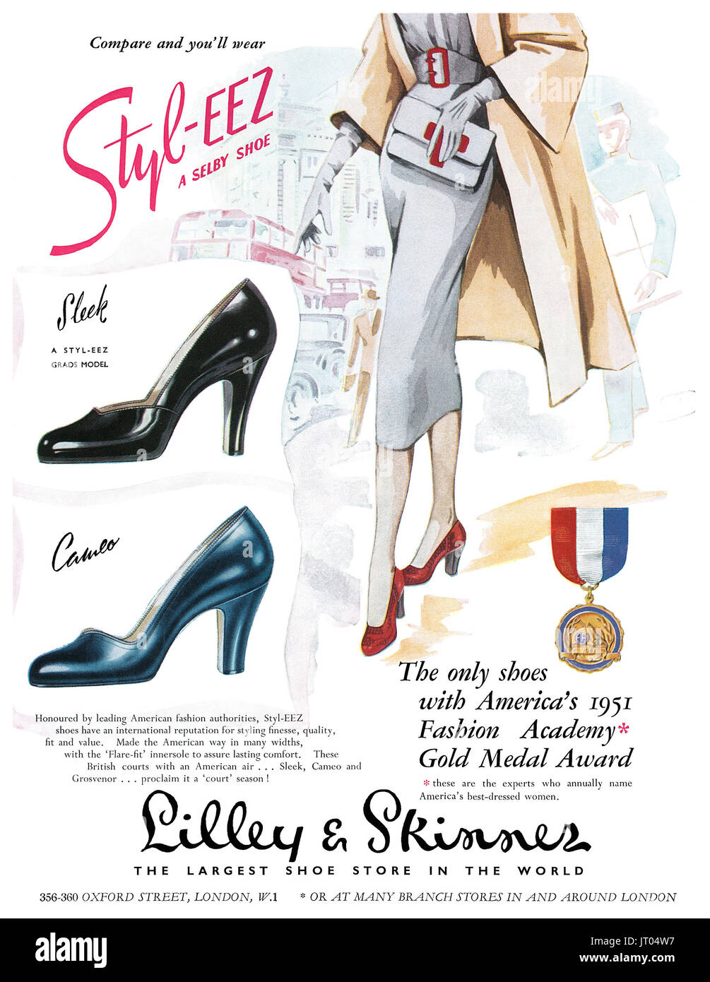 1951 British advertisement for Selby Styl-Eez shoes at Lilley & Skinner. - Stock Image