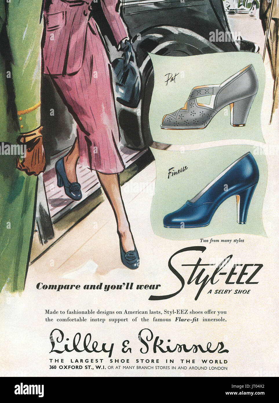1951 British advertisement for Selby Styl-Eez Shoes and Lilley & Skinner shoe shops. - Stock Image