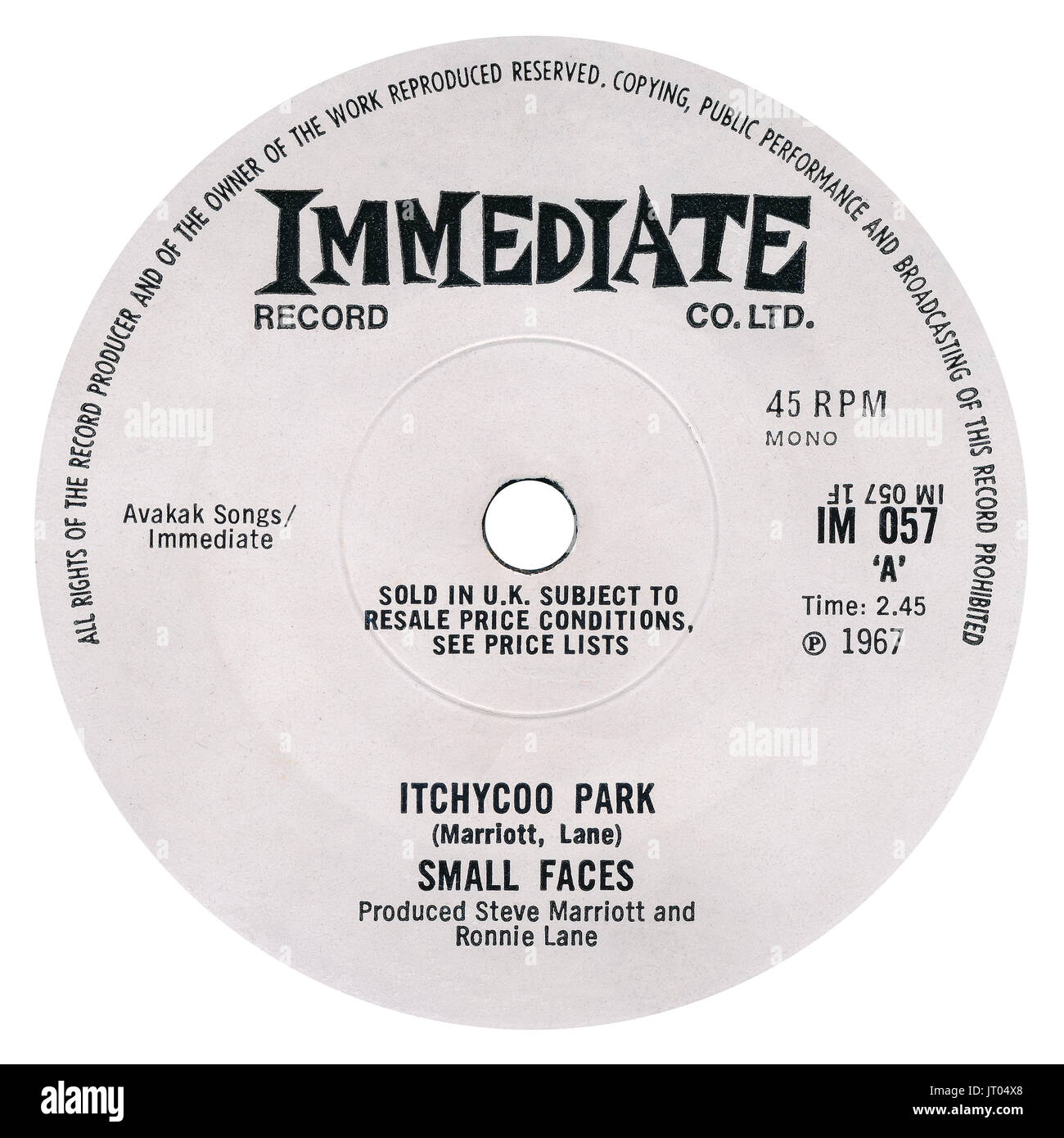 45 RPM 7' UK record label of Itchycoo Park by Small Faces on the Immediate label from 1967. - Stock Image
